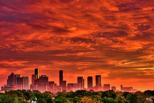 city red sky usa skyline architecture sunrise buildings downtown texas apocalypse houston hdr