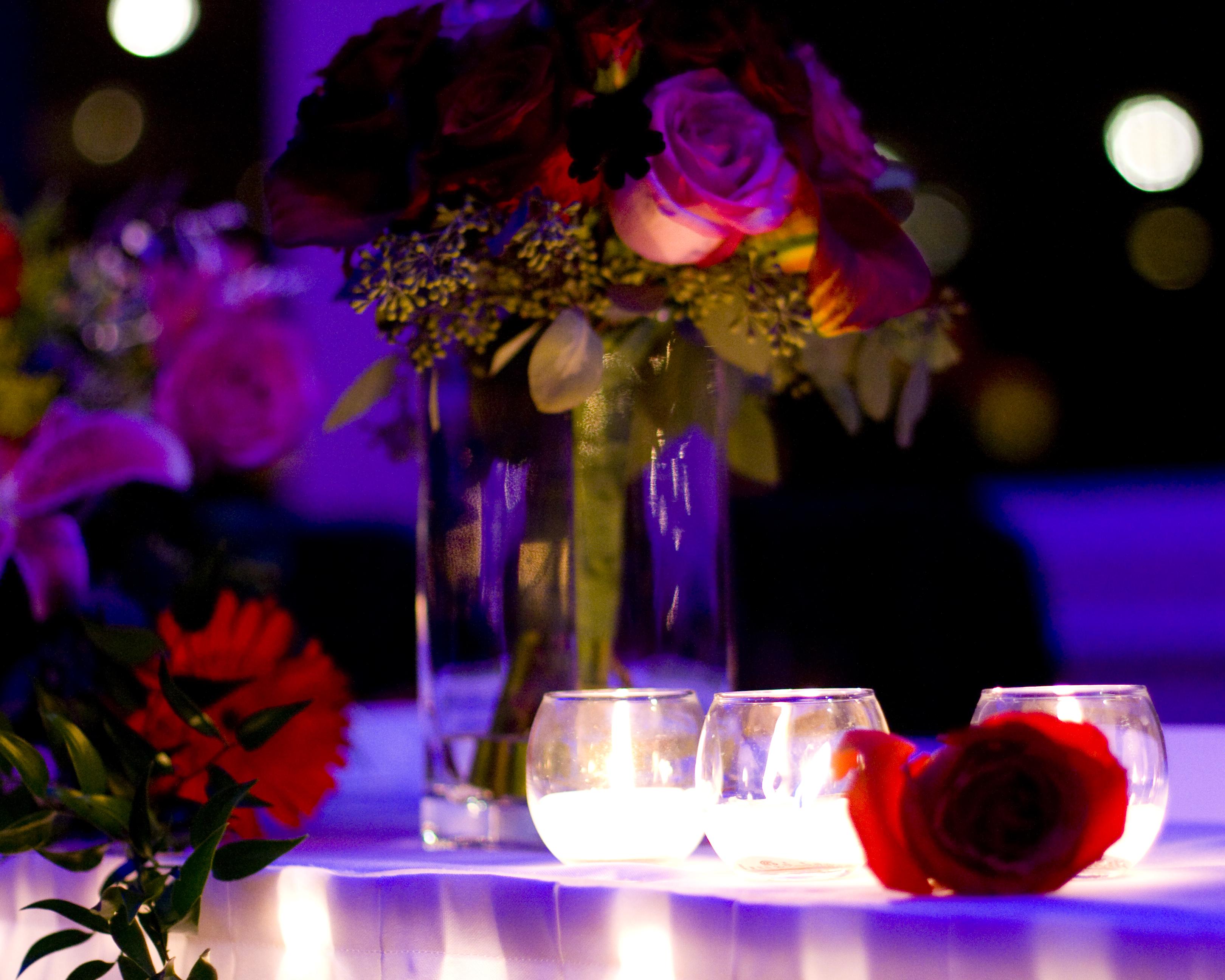 centre piece wedding flower candles