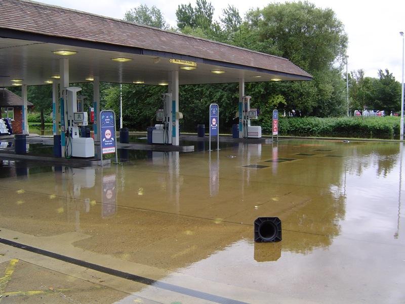 Flooded forecourt