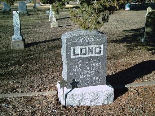 hobby civilwarveteran williamlong tombstonephoto coa174thohinfantry bornfeb51844 diedmay251924