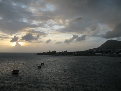 2010 caribbean americas northamerica lesserantilles boattrip island saintkittsandnevis saintkitts saintgeorgebasseterre basseterre water sea bay caribbeansea sunset commonwealthofnations harbor sun nationalcapital ocean