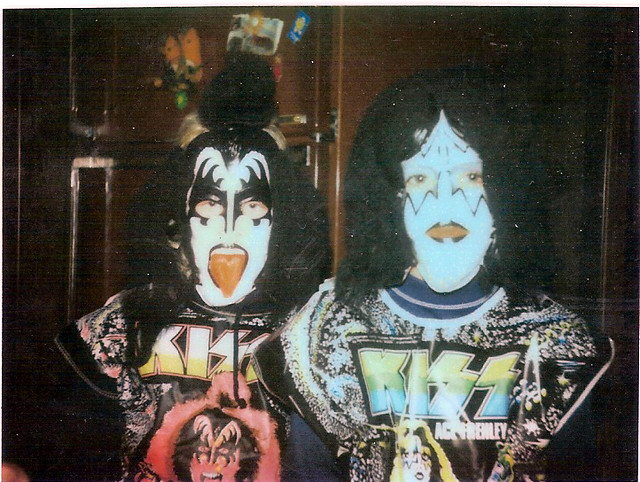Vintage Kiss Halloween costumes - Ace Frehley and Gene Simmons