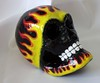 Hand Painted, Papier Mache Skull, Tattoo Style Flames On Black Background .•´¸.•*´¨) ¸.•*´¨) (¸.•´ (¸This