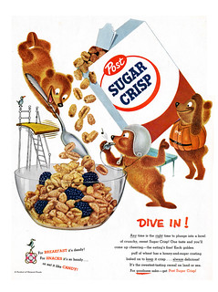 Post Sugar Crisp - Dive In Bears - Magazine Ad - 1950's