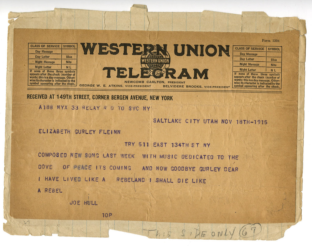 Telegram from Hill to Flynn (Side II) | Tamiment Library