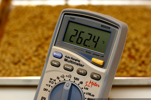 digital multimeter monitoring oven temperature for coffee roasting    MG 3738