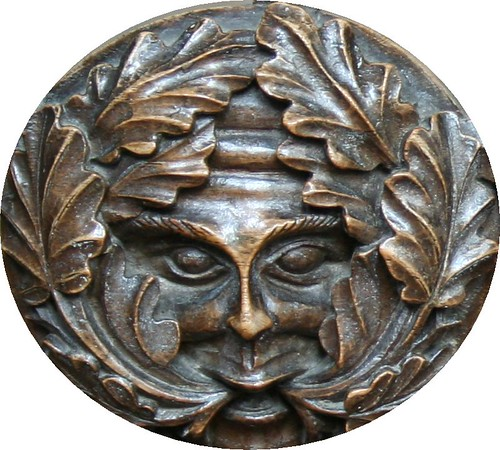Close up of the Green Man in Tideswell Church