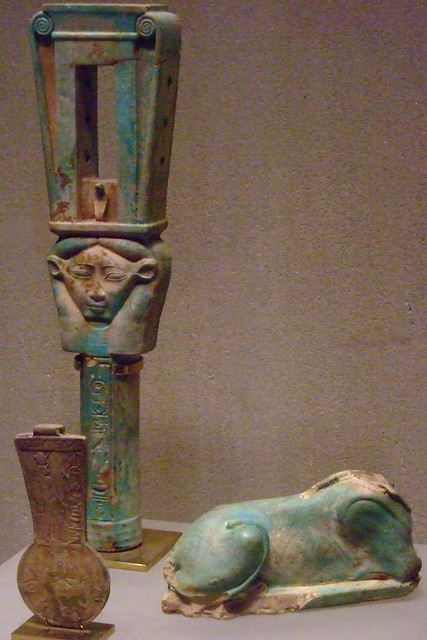 Sistrum and votive offerings associate with the Saite Kings Dynasty 26 664-525 BCE Faience bronze limestone