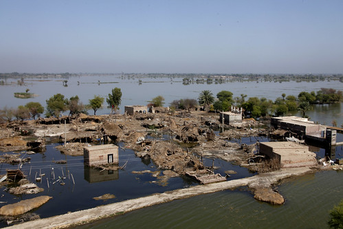 Flood damage in flood-affected Pakistan