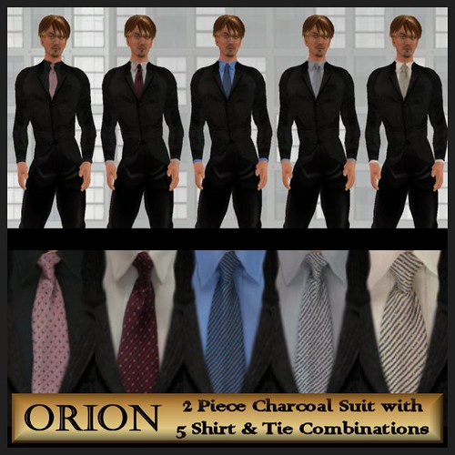 orion charcoal suit 5 shirt and tie combinations
