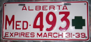 1938 (Expires March 31-39) ALBERTA medical doctor plate