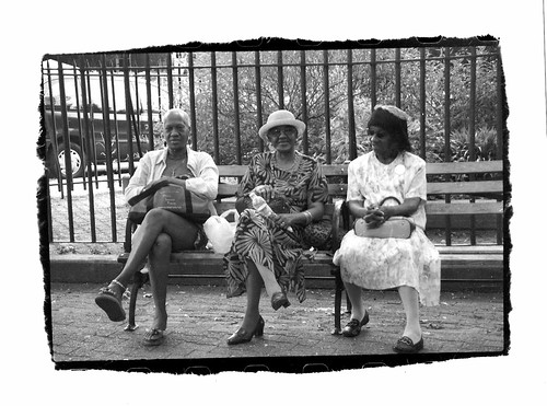 Women on a park bench in Brooklyn