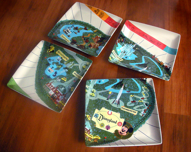 Disneyland Vintage Guidebook Map Dinnerware Set