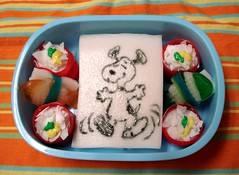 Silly snoopy snack bento