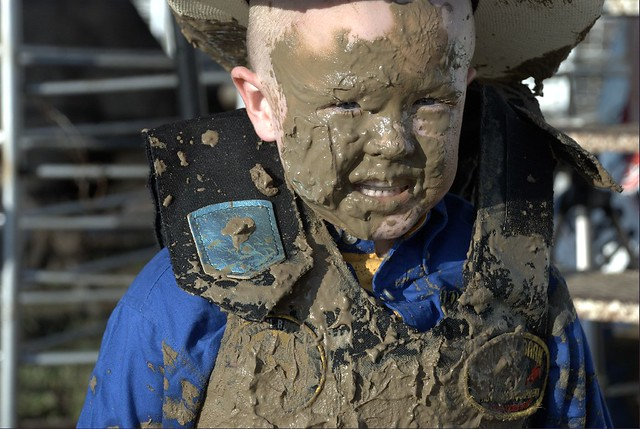 Good Sport Rodeo Mutten Busting Child Boy Smile Cowboy Hat