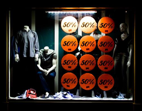 blue urban orange black mannequin window shop headless night contrast shopping clothing display sale january jeans shirts heads 50 sales streetscape merchandising artyeva