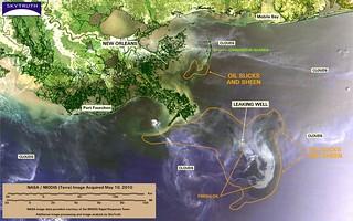 Deepwater Horizon Oil Spill – MODIS/Terra Detail (with interpretation), May 10, 2010