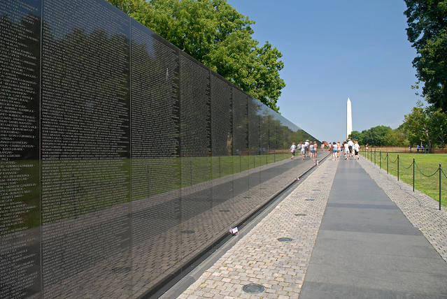 Vietnam Veterans Memorial Wall in Washington DC Black