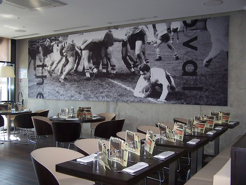 Fabric poster mounted on wall (restaurant)