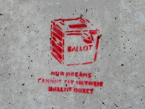Graffiti showing a ballot box