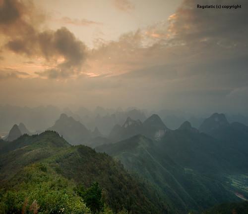 travel green sunrise relax nikon warm shadows guilin rags ridge layers peaks karst slope guangxi singleexposure nohdr d700 skyopensup