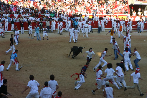 Running with the bulls at Pamplona, Spain.