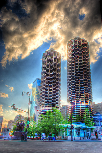 Marina Towers from Wabash and Wacker