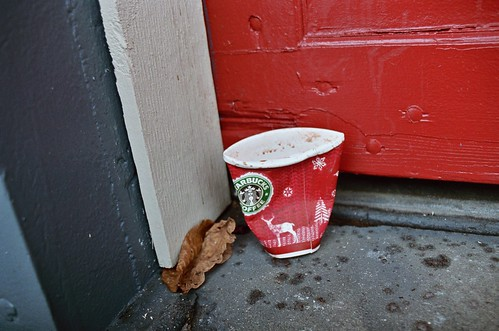 starbucks cup, red door, brown leaf
