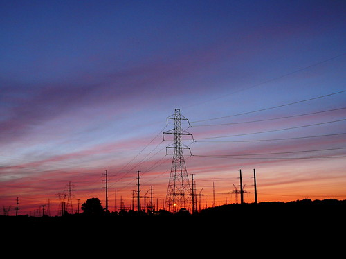 sunset tower lines power suburbia electrical
