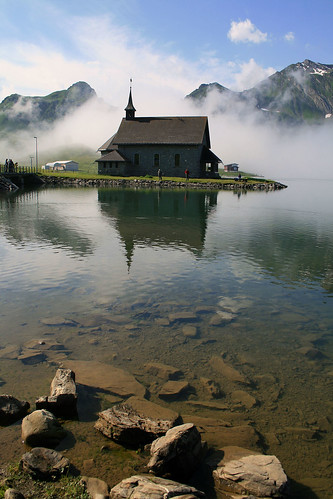 morning sky mountain lake alps nature water clouds sunrise landscape switzerland melchseefrutt melchsee chapell distelboden
