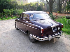 mercedes-benz w120(0.0), saab 96(0.0), automobile(1.0), vehicle(1.0), hindustan ambassador(1.0), compact car(1.0), antique car(1.0), sedan(1.0), classic car(1.0), vintage car(1.0), land vehicle(1.0), luxury vehicle(1.0),