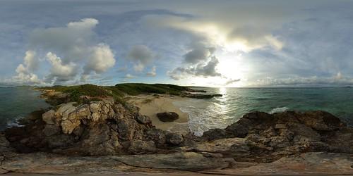 ocean sea panorama sun mer beach sunrise island soleil sand 21 sandy tripod sable gimp level plage 360° leverdesoleil 360°x180° île océan hugin enblend equirectangular tintamarre 303sph