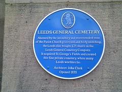 Photo of Leeds General Cemetery, Leeds and John Clark blue plaque