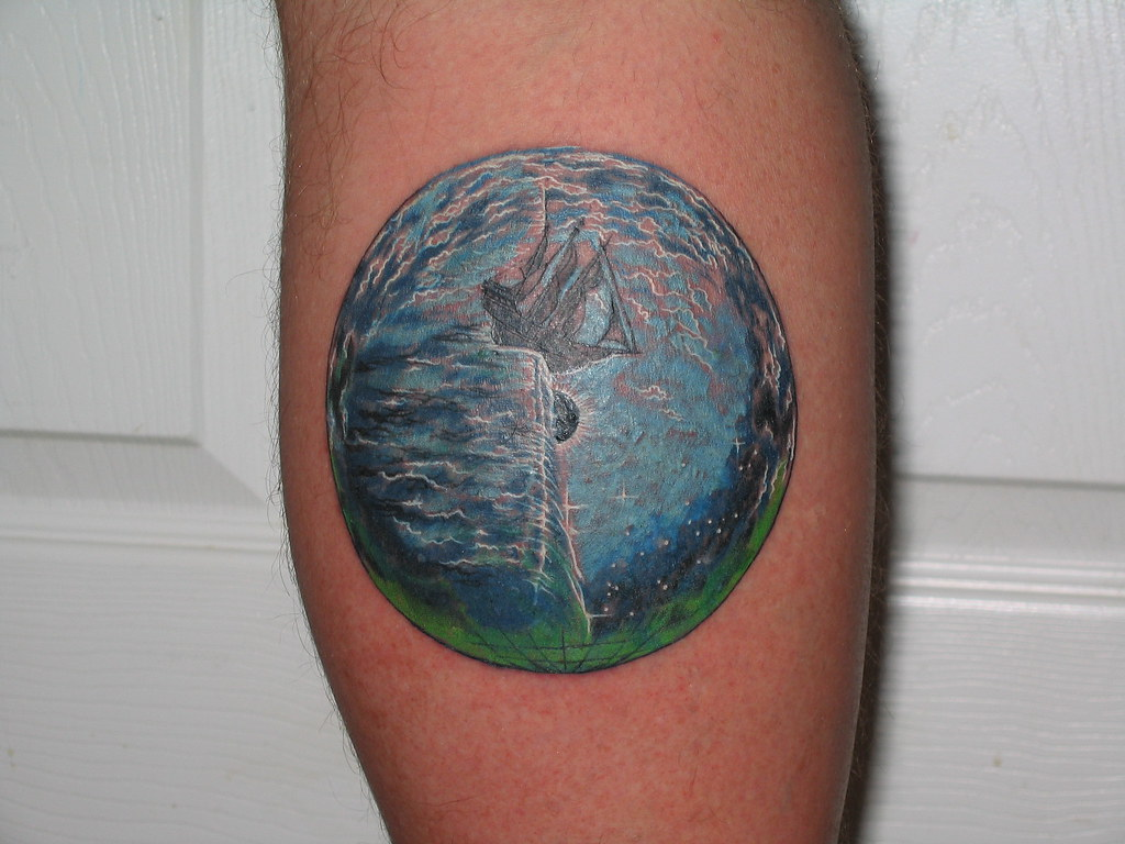 Kansas, Point of Know Return. An earth tattoo depicting an old sailing ship as it crosses the point of no return and falls off the edge of the world. From the 1976 Kansas album cover