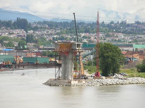 Canada Line Fraser Bridge Eburne Island pier under construction Richmond BC 2007_0621