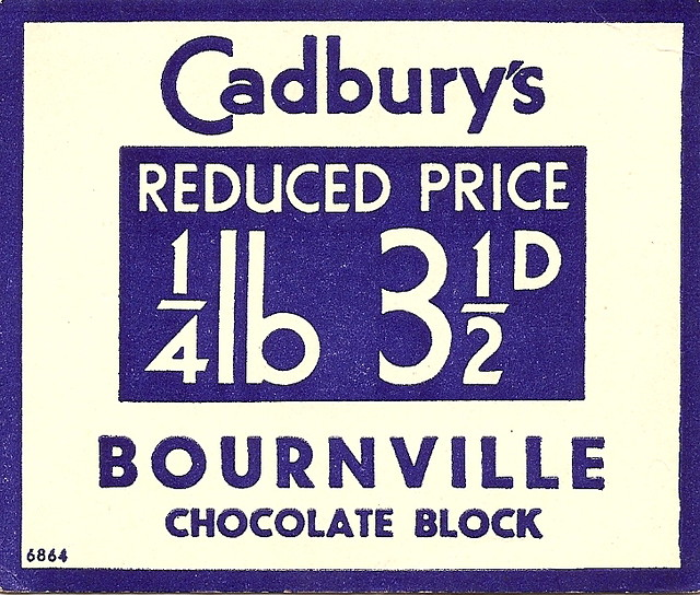cadburys bournville chocolate price ticket c1935