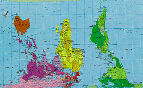 World Map Peters Projection Upside Down Uploaded With Flickr