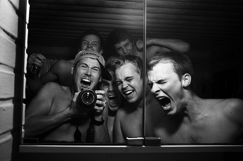 Crazy Finnish Sauna Dudes by Jerry Lindholm