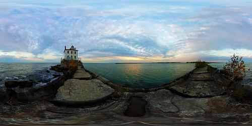 morning ohio panorama lake water stone sunrise pier lakeerie pano sony panoramic oh greatlake lakecounty equirectangular 360vr nex5
