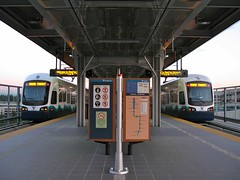 Two trains at SeaTac/Airport