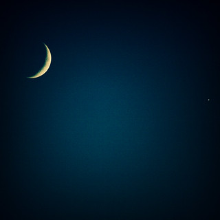 Crescent moon (and venus)
