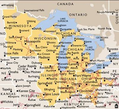 map usa midwest midwestern united states