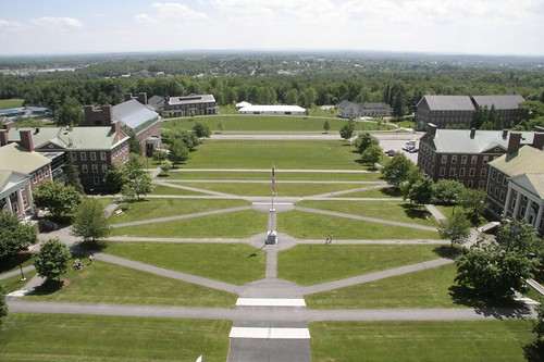 tower clock college reunion buildings view weekend flag quad aerial colby academic pathways