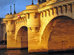 the pont neuf glowing at sunset