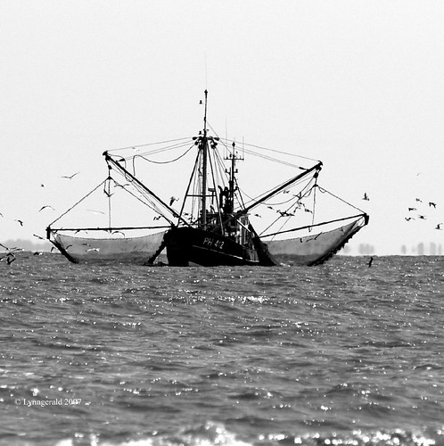 Fishing Trawler in the Wash BW