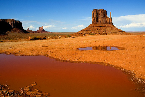 Monument valley in red reflection