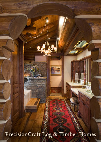 Bathroom View In A Handcrafted Log Home Jackson Hole Wy By Precisioncraft Log Timber