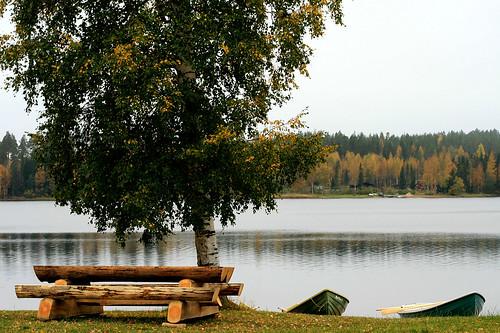autumn lake nature landscape boats picnic