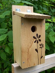 Recycled Wood Flower Bird House