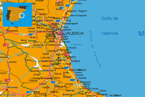 Mapa Costa Comunidad Valenciana.Mapa Costa Valencia Mapa